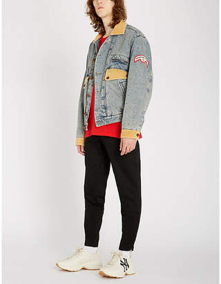Gucci Corduroy-panelled faded denim jacket