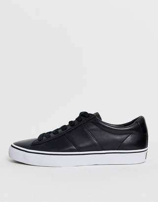 Polo Ralph Lauren sayer leather trainer polo player logo in black