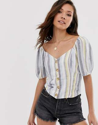 Abercrombie & Fitch button through stripe linen shirt
