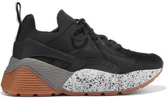 Stella McCartney Eclypse Logo-woven Faux Leather, Suede And Neoprene Sneakers - Black