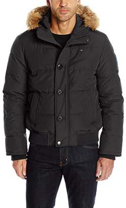 Tommy Hilfiger Men's Arctic Cloth Quilted Snorkel Bomber Jacket Removable Faux Fur Trimmed Hood