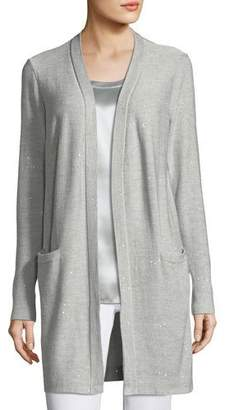 Lafayette 148 New York Sequin-Embellished Long Silk-Blend Cardigan