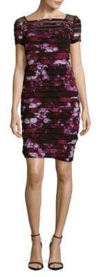 Adrianna Papell Floral Yoke Banded Dress