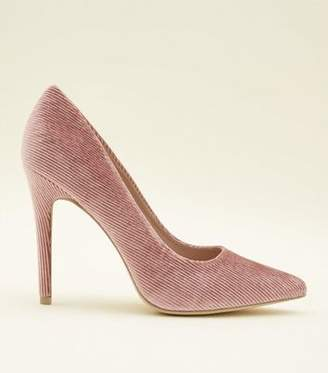 New Look Mid Pink Corduroy Pointed Court Heels