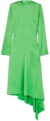 MSGM Asymmetric Satin Midi Dress - Green
