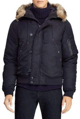 Polo Ralph Lauren Nylon Faux Fur-Trim Bomber Jacket