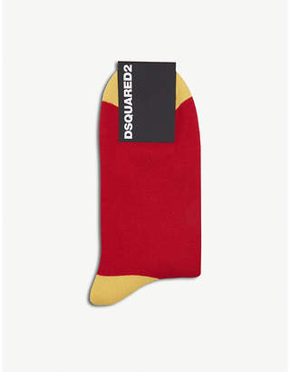 DSQUARED2 Mens Red Gold Luxury Icon Cotton-Blend Socks