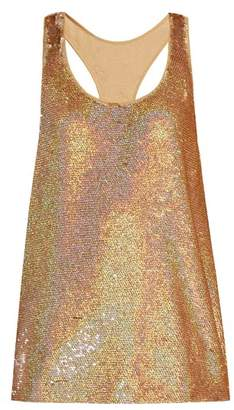 Ashish Racer Back Sequin Embellished Tank Top - Womens - Gold
