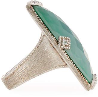 Jude Frances Lisse Elongated Doublet Ring, Malachite/Moonstone, Size 7.5