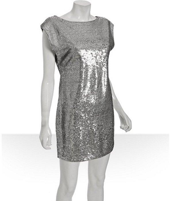 Alice & Olivia silver sequin 'Marina' dolman sleeve dress