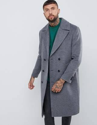 Asos Design DESIGN wool mix double breasted overcoat in charcoal 2a17955b6b2c