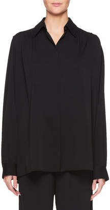 The Row Choi Button-Front Long-Sleeve Silk Top
