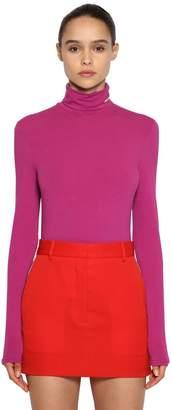 Calvin Klein Stretch Cotton Jersey Turtleneck Top