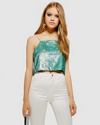 Topshop Sequin Crop Cami