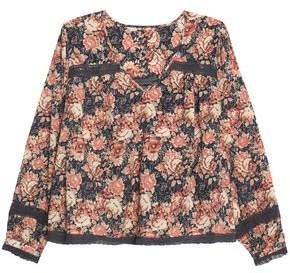 Current/Elliott Crochet-Trimmed Floral-Print Cotton-Gauze Top