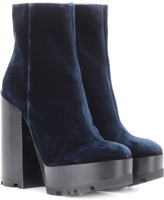 Jil Sander Velvet plateau ankle boots