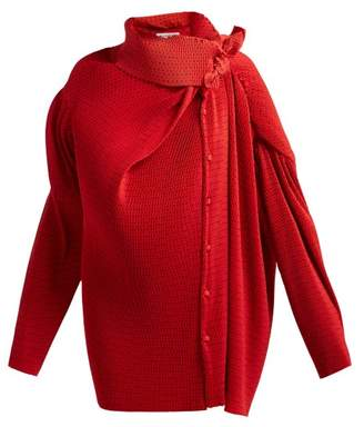 Balenciaga Draped Dot Print Blouse - Womens - Red Multi