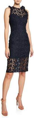 Halston Sleeveless Fitted Lace Illusion Dress with Ruffle Trim
