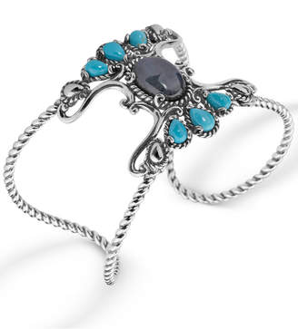 Carolyn Pollack Labradorite and Turquoise Rope Cuff in Sterling Silver