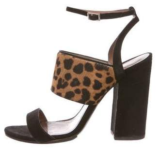 Tabitha Simmons Suede Ponyhair-Accented Sandals
