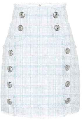Balmain Embellished tweed miniskirt
