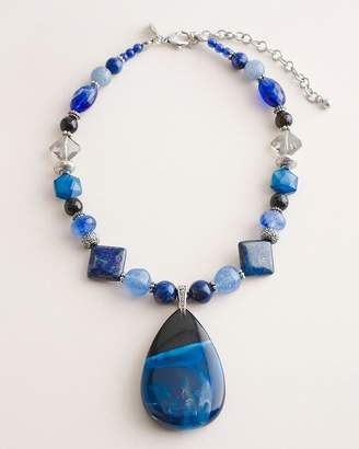 Chico's Chicos Short Blue Beaded Pendant Necklace