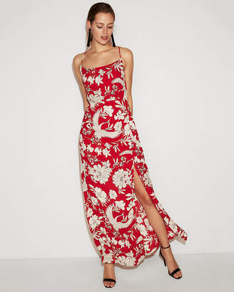 Express Tropical Floral Scoop Neck Maxi Dress