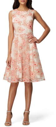 Tahari Floral Embroidered Fit & Flare Dress