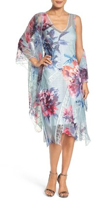 Women's Komarov Lace & Chiffon Dress With Shawl $458 thestylecure.com