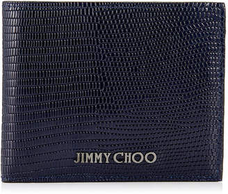 Jimmy Choo MARK Navy Lizard Print Leather Bi-Folding Wallet
