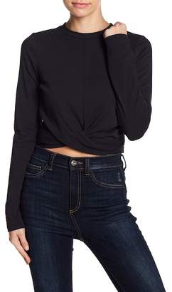 Lush Knot Front Long Sleeve Crop Top