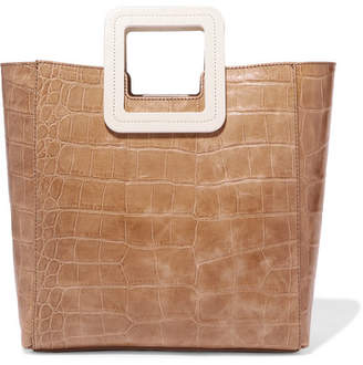 STAUD Shirley Two-tone Croc-effect Leather Tote - Beige