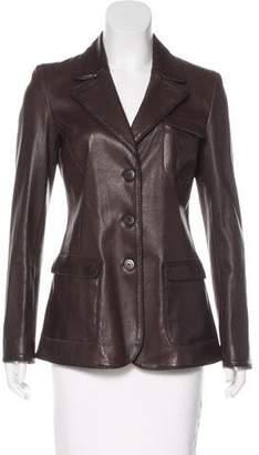 Giorgio Armani Button-Up Leather Jacket