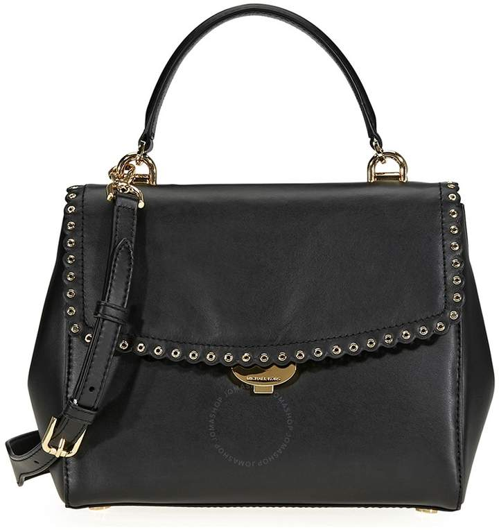Michael Kors Ava Medium Scalloped Leather Satchel- Black - ONE COLOR - STYLE