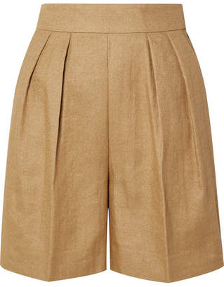 Theory Pleated Woven Shorts - Beige