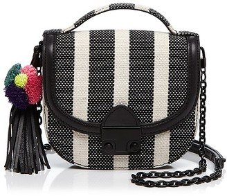 Loeffler Randall Striped Mini Canvas Saddle Bag - 100% Exclusive $295 thestylecure.com