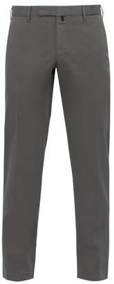 Incotex Slim Fit Stretch Cotton Twill Trousers - Mens - Grey