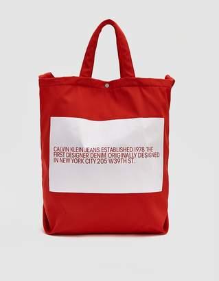 Calvin Klein Jeans Est. 1978 Est. 1978 Logo Tote in Red
