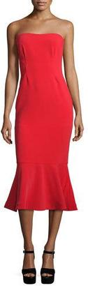 cinq a sept Luna Strapless Flounce-Hem Dress, Venetian Red $465 thestylecure.com