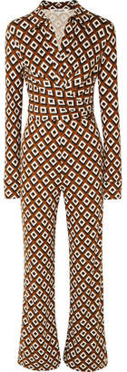 Diane von Furstenberg Wrap-effect Printed Silk-jersey Jumpsuit - Brown