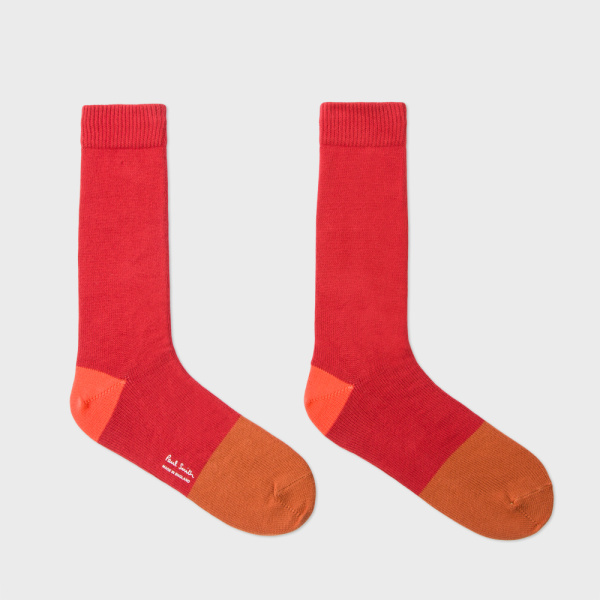 Men's Burnt Red Colour Block Socks 2