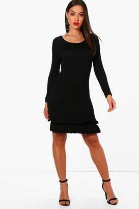 boohoo Whitney Frill Hem Long Sleeve Bodycon Dress