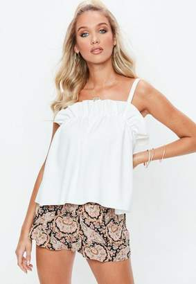 Missguided White Gathered Cami Tank Top