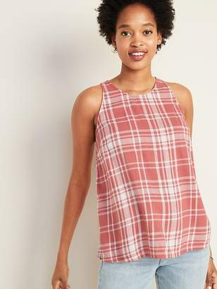 Old Navy Plaid Slub-Weave High-Neck Sleeveless Top For Women