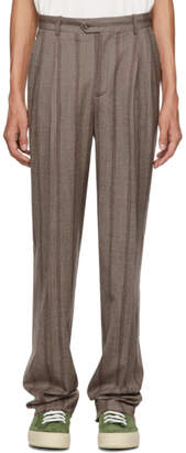 Editions M.R Brown Stripe High-Waisted Trousers