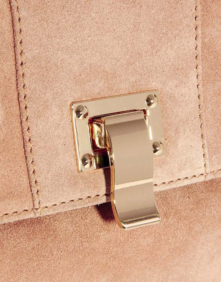 Asos Leather Oversized Clutch With Chunky Front Lock