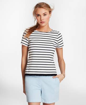 Brooks Brothers Fringe-Hem Striped Stretch Cotton Jersey T-Shirt