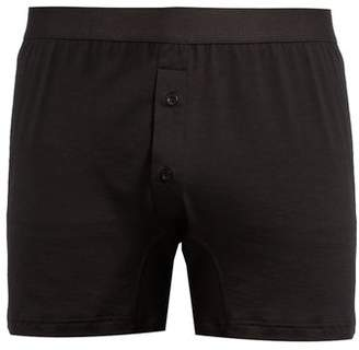 Sunspel Double Button Cotton Jersey Boxer Trunks - Mens - Black
