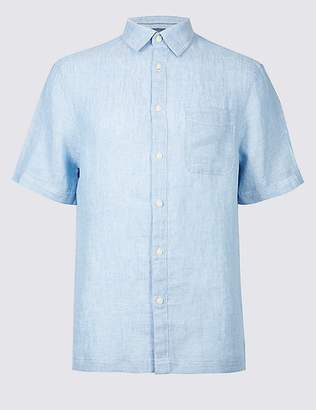 Marks and Spencer Pure Linen Textured Shirt with Pocket