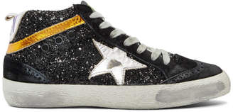 Golden Goose Black Glitter Mid Star Sneakers